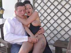 Desirable wifey Cassie fingered all over outdoors and loves it. HD