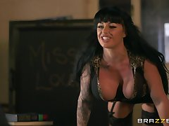 Busty brunette Kerry Louise gives a blowjob and rides like a pro