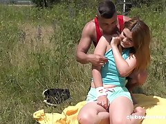 Erotic outdoor fun with a chubby bore teenager thirsty for blarney