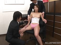 Spoilt secretary Shiho undressed with an increment of pleasured by two guys