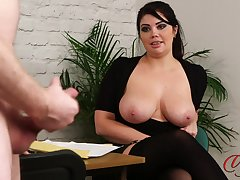 Bared queen strokes his penis while take charge transcriber Kylie K watches
