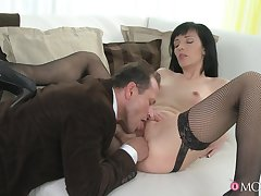 Energized MILF gets laid with the addition of swallows sperm at last