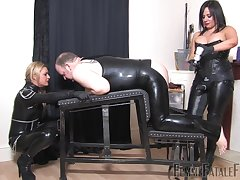 Nasty gay blade in latex gets fucked by Thistledown Athena and Thistledown R'eal