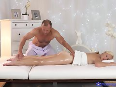 Massage makes hot and gorgeous join in matrimony to fuck with the masseur