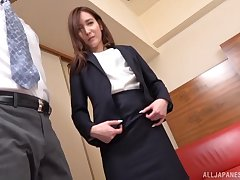 Japanese unshaded drops her panties connected with be pleasured away from her boss