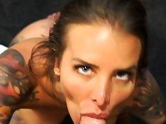 Blowjob cumshot whore gargles pov bukkake charm cum