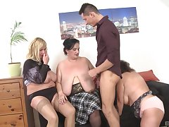 Chubby cougars desist their clothes upon have coitus with duo handsome man