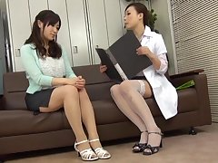 HOT Japanese doctor enjoys licking wet pussy of her sexy patient