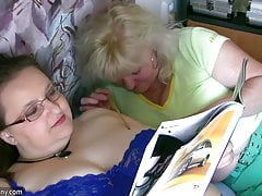 Chubby granny and old granny masturbating on the bet hardcor