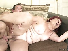 Perverted fat ginger whore Marsha is so into giving a good blowjob