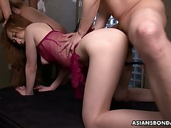 Asian tied up toddler Aimi Ichijo gets her pussy fucked and creampied