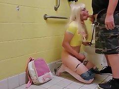 Sissy Abused Hard in Public Bathroom