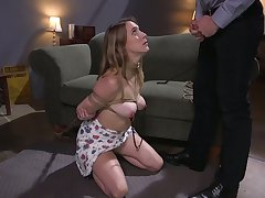 Slutty gaffer babe Emphasis Lux is tied up and fucked off out of one's mind hurtful man