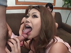 Horny and young Asian girls align to reach orgasm with handsome dude
