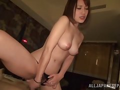 Gorgeous Japanese moves her black tights for friend's hard load of shit