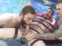 Outdoor bondage fun between thirsty for cock gay lads
