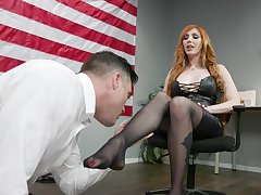 Sexy machine politician Lauren Phillips puts on strapon and fucks on submissive dude