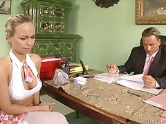 Busty intern fucks her boss after some steamy thing