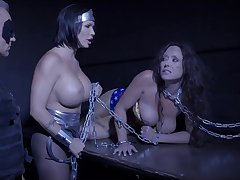 Shay Fox with the man Summer Day and Christina Carters chained in BDSM act