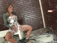 Dirty slut Silvia Dellai plays with a fake dig up added to gets covered in cum