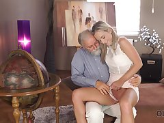 Old man wants to see Shanie Ryan's pussy and become absent-minded sexy woman is hardly shy