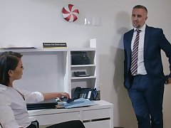 Man in fit comes and fucks this business woman pertinent in her office