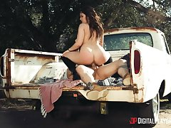 Fucked in the beside of the truck with an increment of jizzed on that weak-minded ass