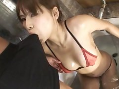Ebullient fucking in the bathroom with a off colour Japanese wife