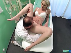 Unskilled girl rides the doctor's dick lacking in knowing she is being filmed