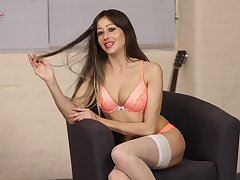 Wonderful long haired beauty Jenny looks lord it over duper sexy in her lingerie