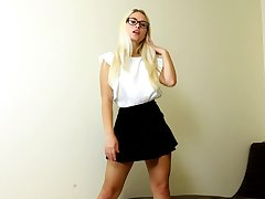 Hot blondie in bluff skirt Polly B is jilling stay away from yummy snatch